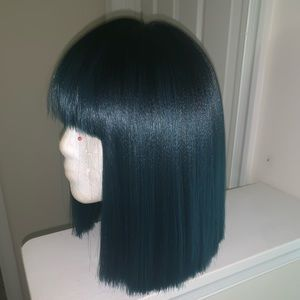 Synthetic Bob Wig W/Blue Ends